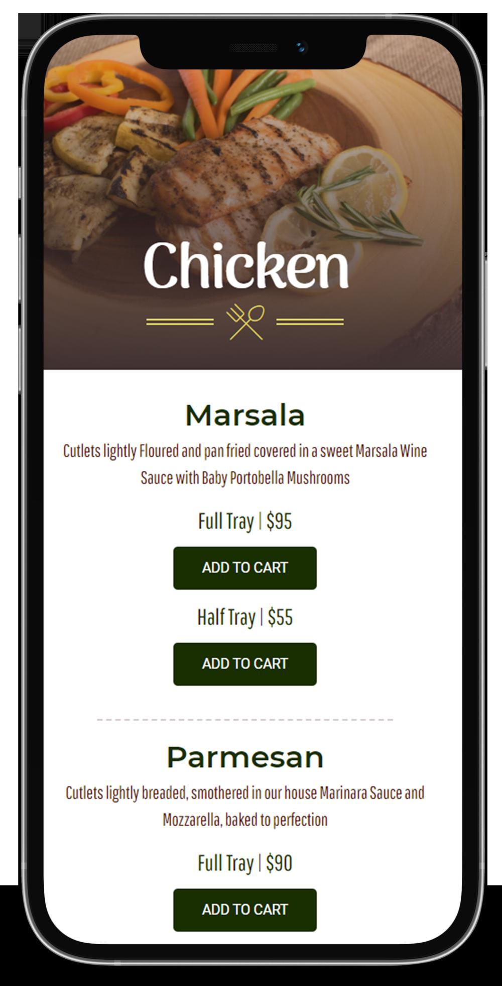 online ordering website, cooking carusos catering, restaurant menu