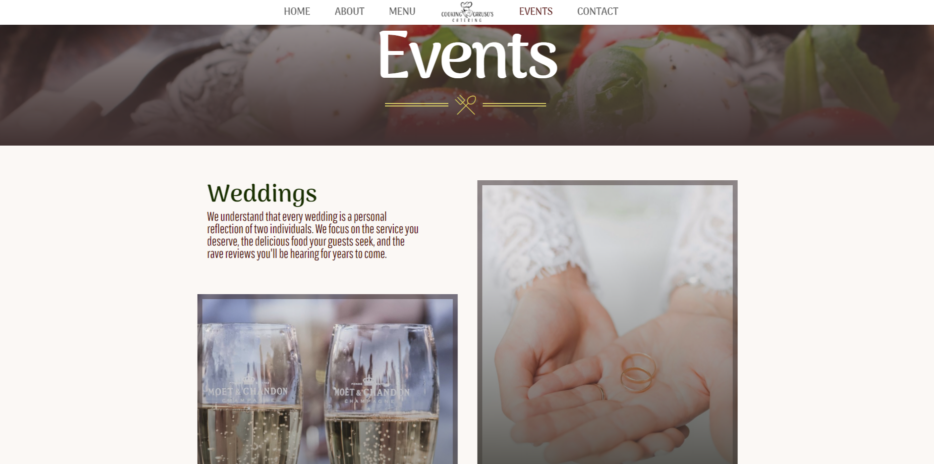 online ordering website, cooking carusos catering, events